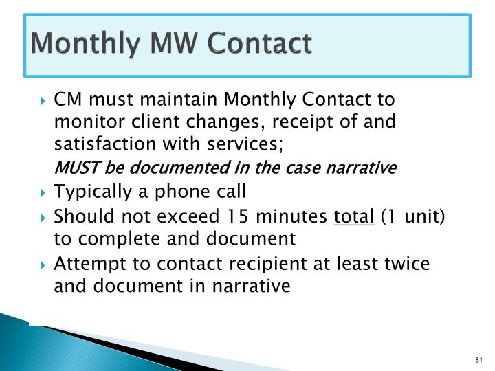 Monthly MW Contact