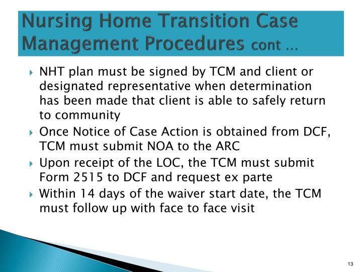 Nursing Home Transition Case Management Procedures