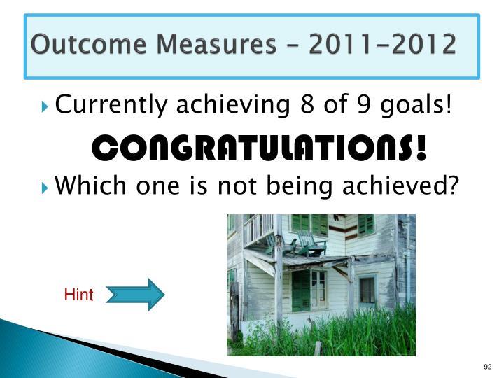 Outcome Measures – 2011-2012