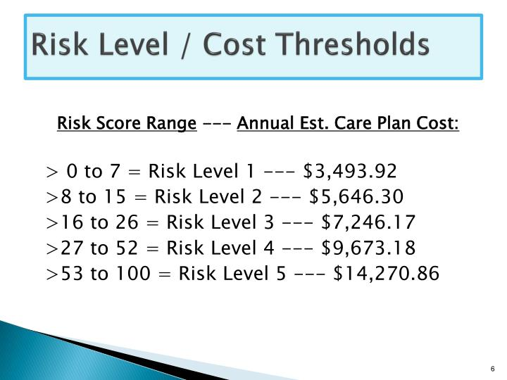 Risk Level / Cost Thresholds