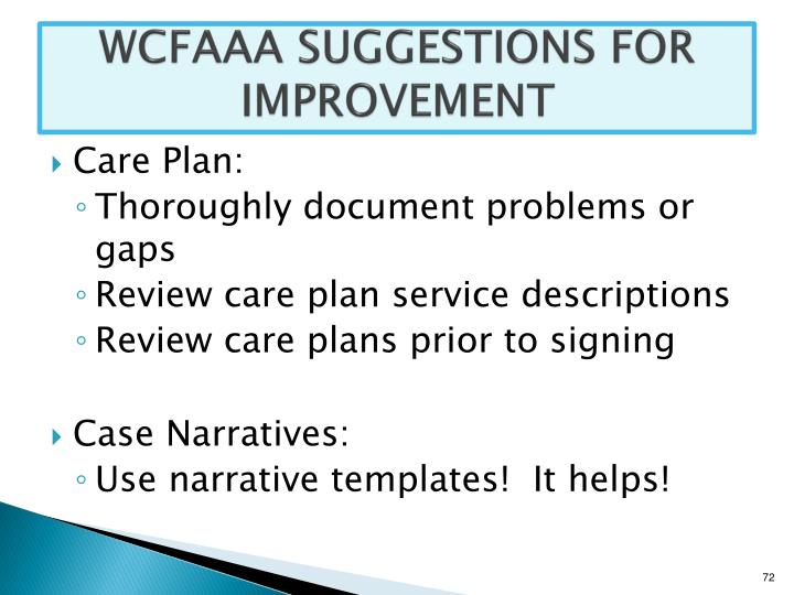 WCFAAA SUGGESTIONS FOR IMPROVEMENT