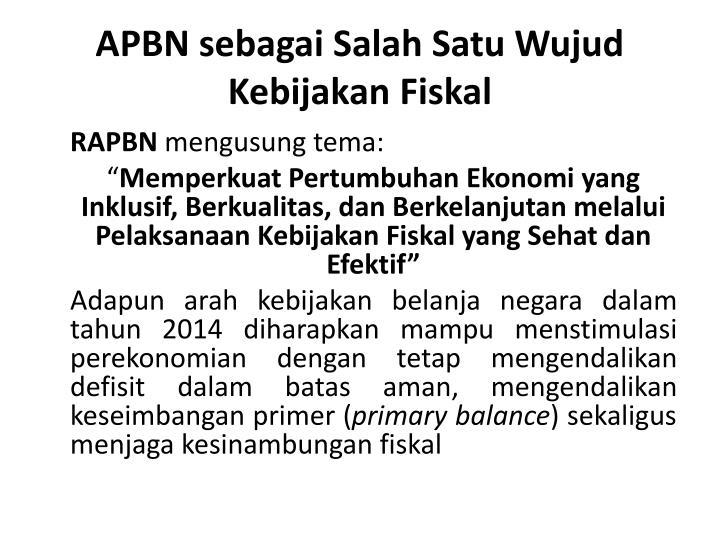 APBN sebagai Salah Satu Wujud Kebijakan Fiskal
