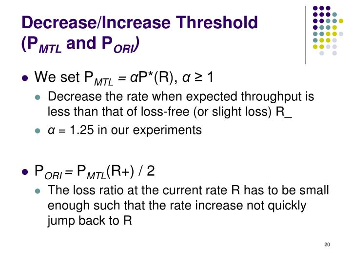 Decrease/Increase Threshold