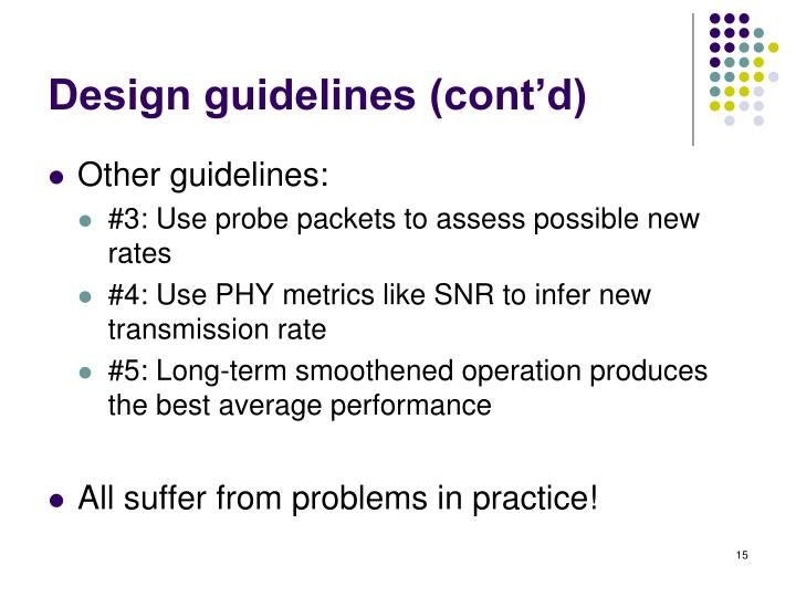 Design guidelines (cont'd)
