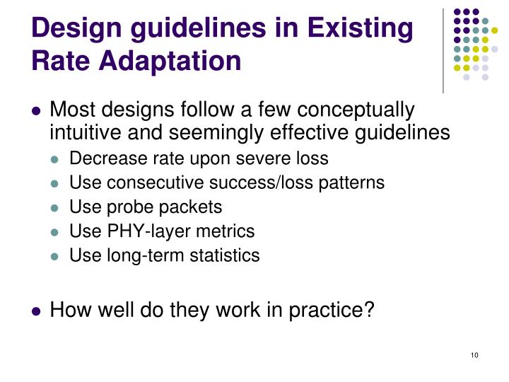 Design guidelines in Existing Rate Adaptation