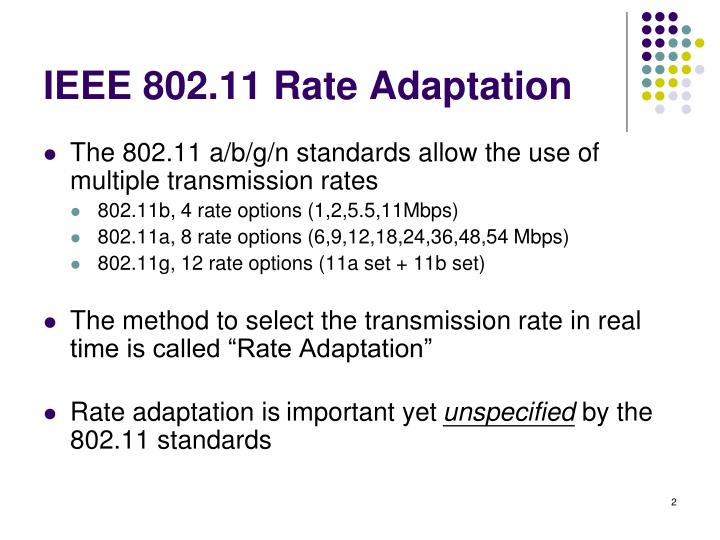 Ieee 802 11 rate adaptation
