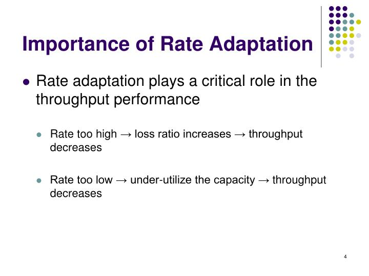 Importance of Rate Adaptation