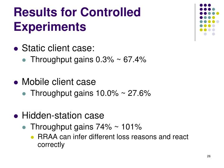 Results for Controlled Experiments