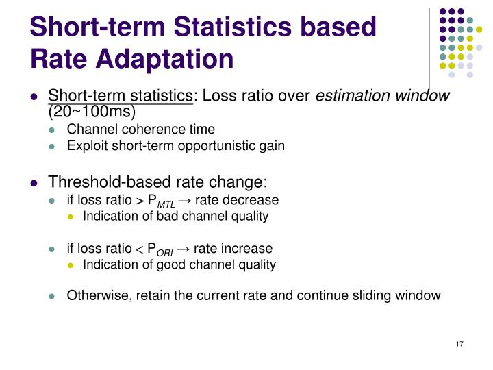 Short-term Statistics based Rate Adaptation