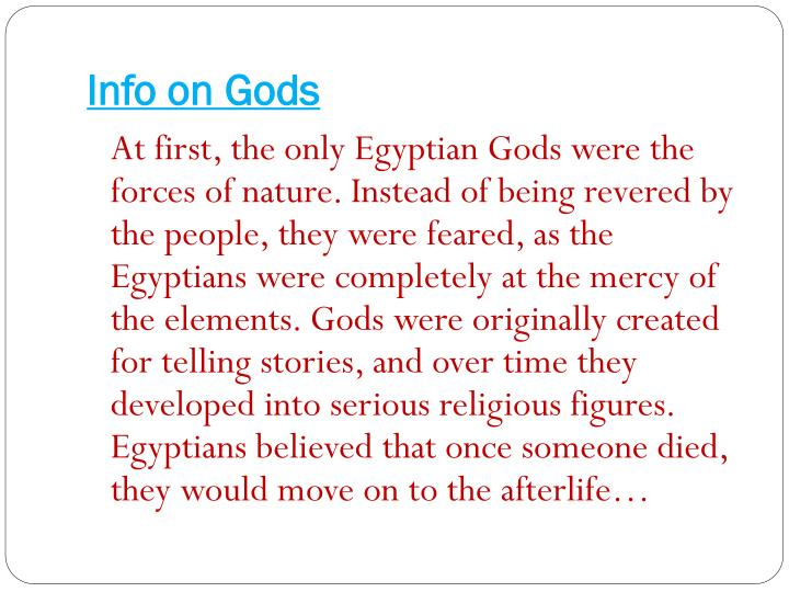 Info on Gods