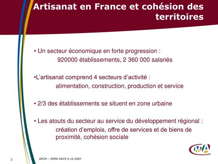 Artisanat en France et cohésion des territoires