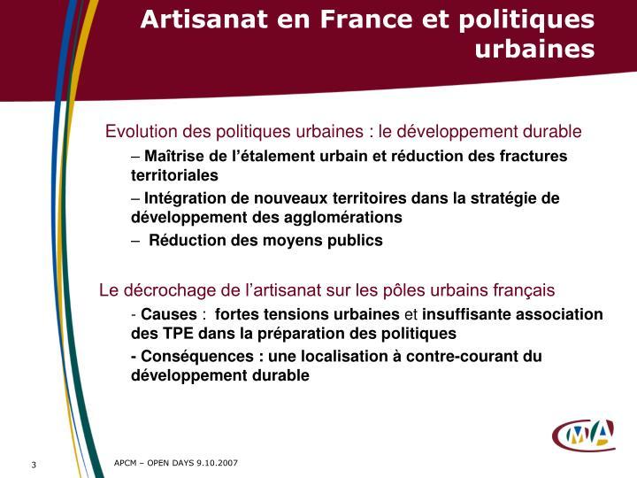 Artisanat en France et politiques urbaines