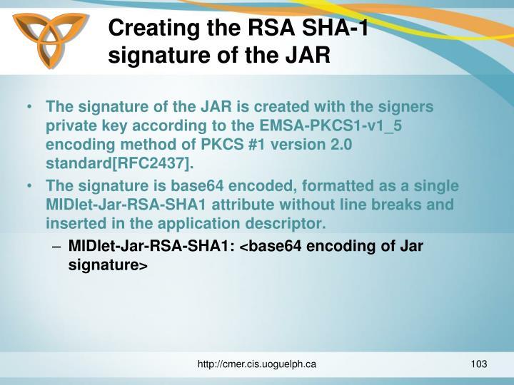 Creating the RSA SHA-1 signature of the JAR