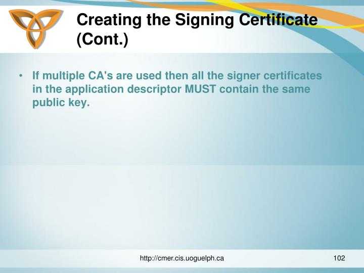 Creating the Signing Certificate (Cont.)