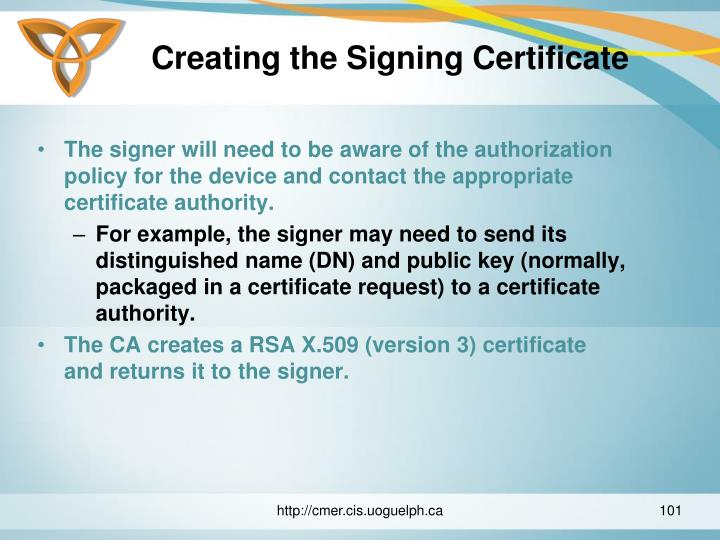 Creating the Signing Certificate