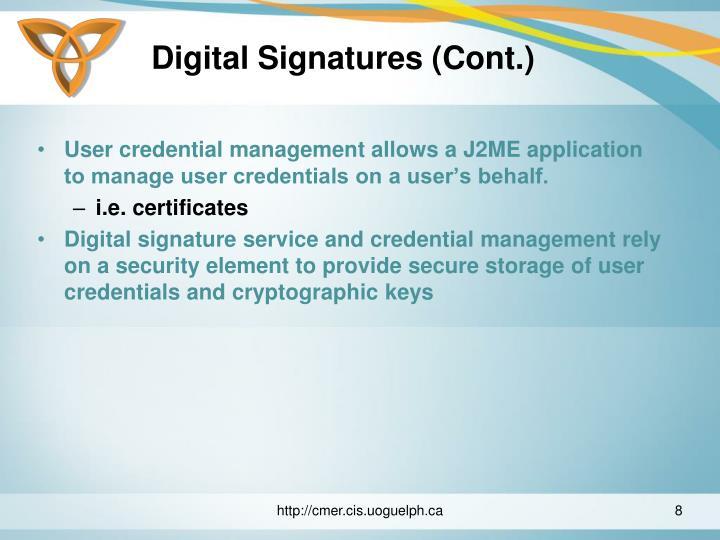 Digital Signatures (Cont.)