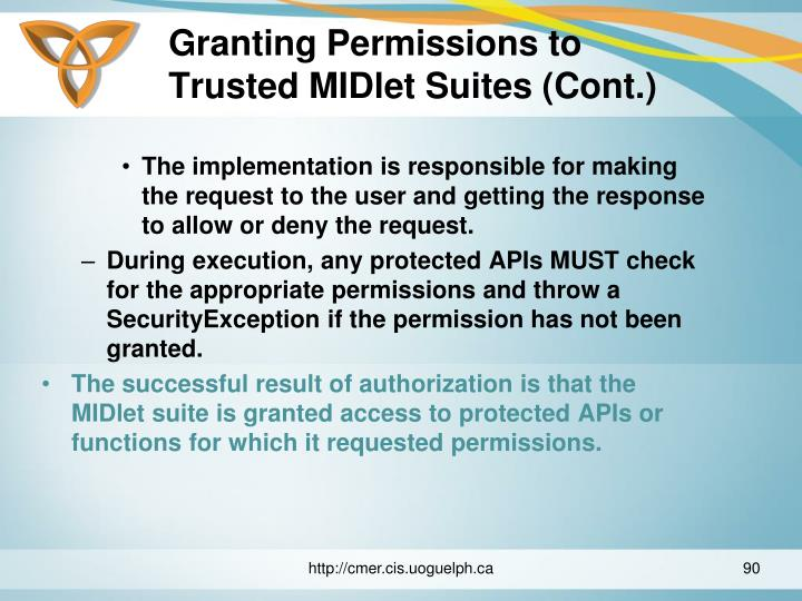 Granting Permissions to Trusted MIDlet Suites (Cont.)