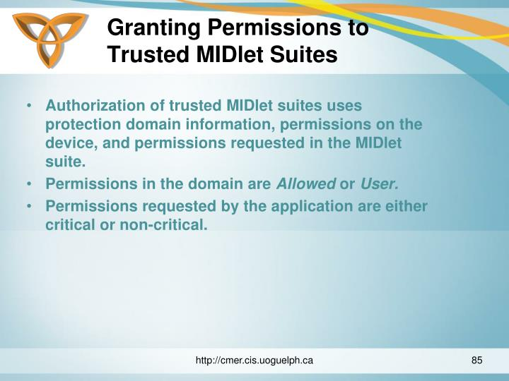 Granting Permissions to Trusted MIDlet Suites