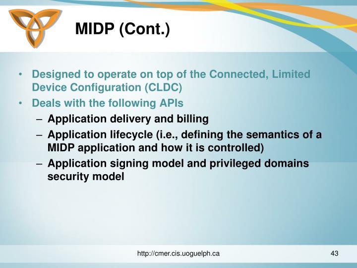 MIDP (Cont.)