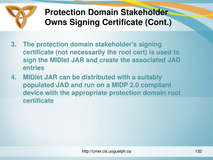 Protection Domain Stakeholder Owns Signing Certificate (Cont.)