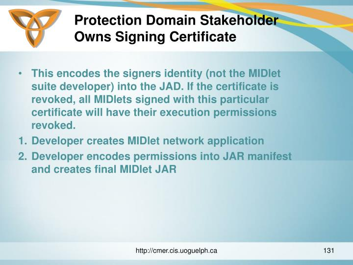 Protection Domain Stakeholder Owns Signing Certificate