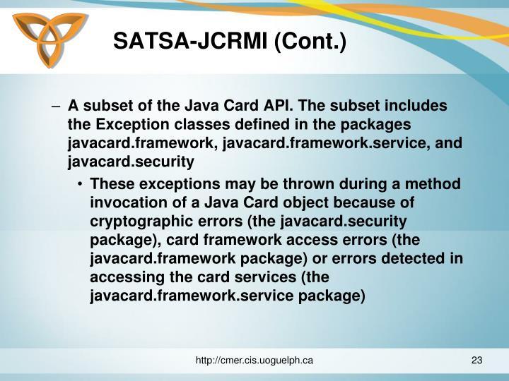 SATSA-JCRMI (Cont.)