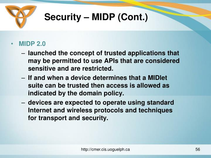 Security – MIDP (Cont.)