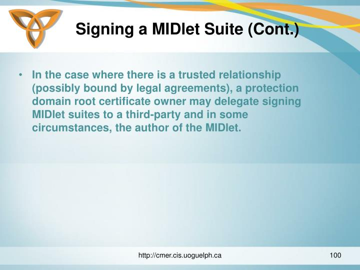 Signing a MIDlet Suite (Cont.)