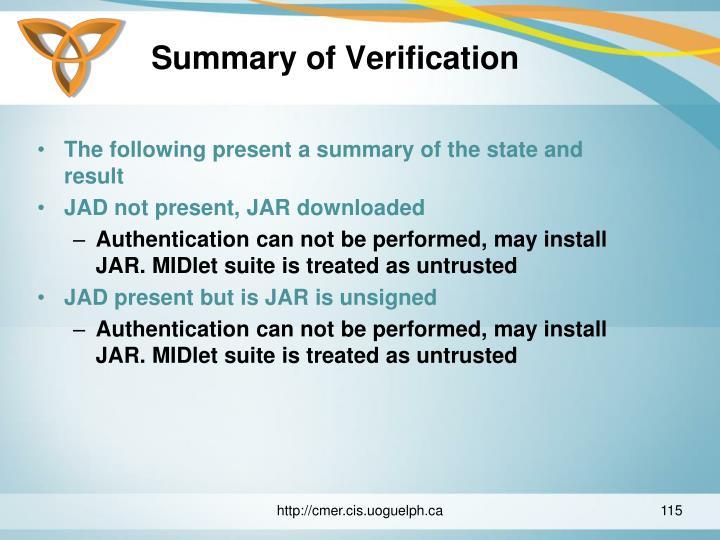Summary of Verification