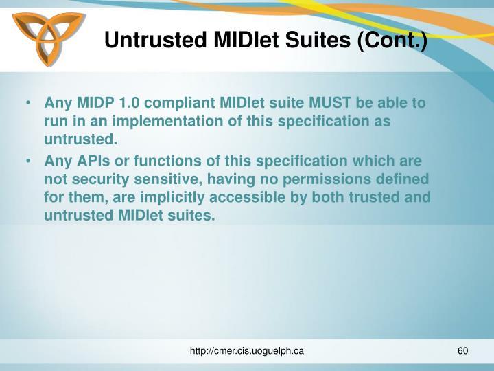 Untrusted MIDlet Suites (Cont.)