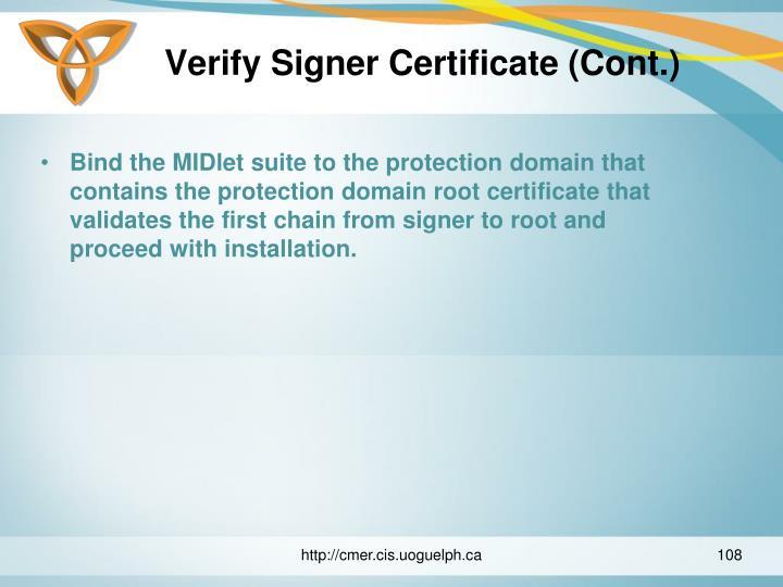 Verify Signer Certificate (Cont.)