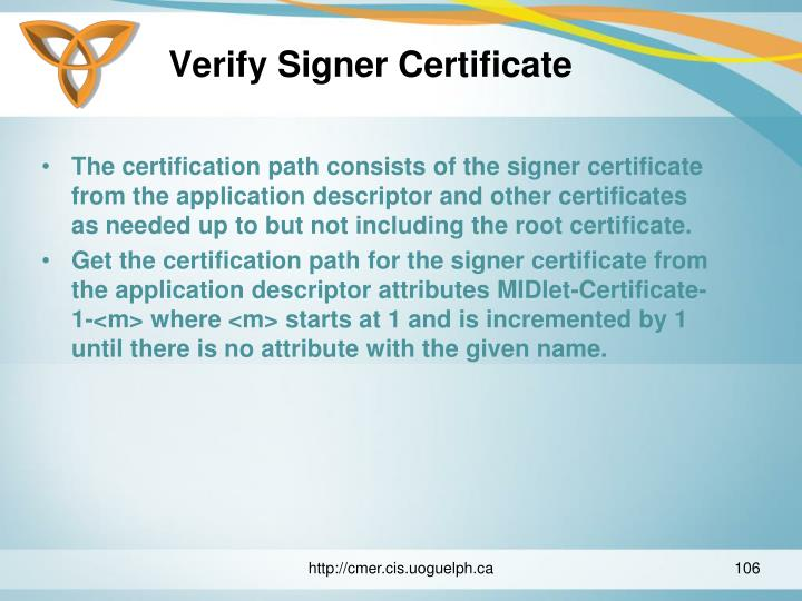 Verify Signer Certificate