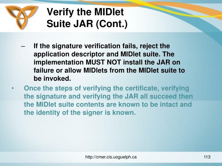 Verify the MIDlet