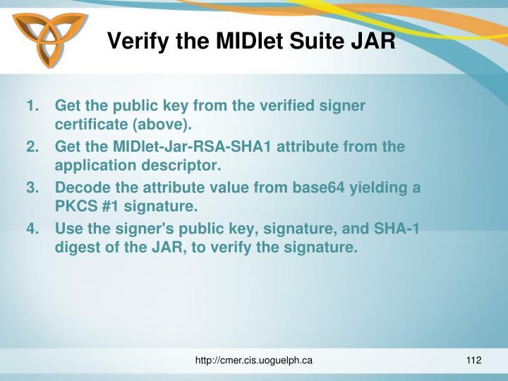 Verify the MIDlet Suite JAR
