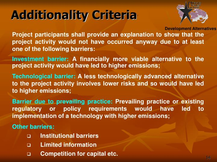 Additionality Criteria