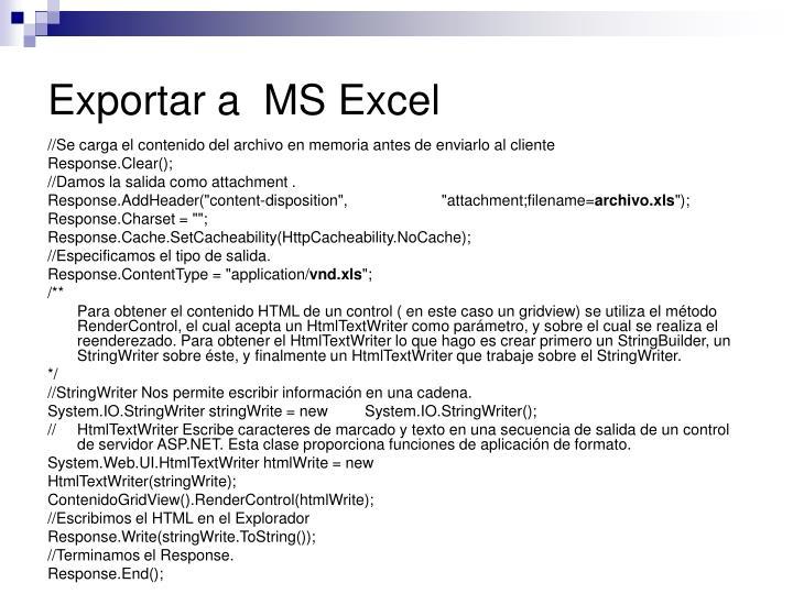 Exportar a  MS Excel
