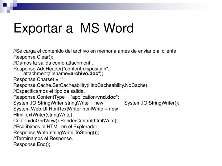Exportar a  MS Word