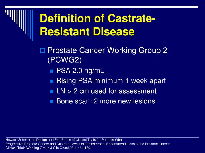 Definition of castrate resistant disease