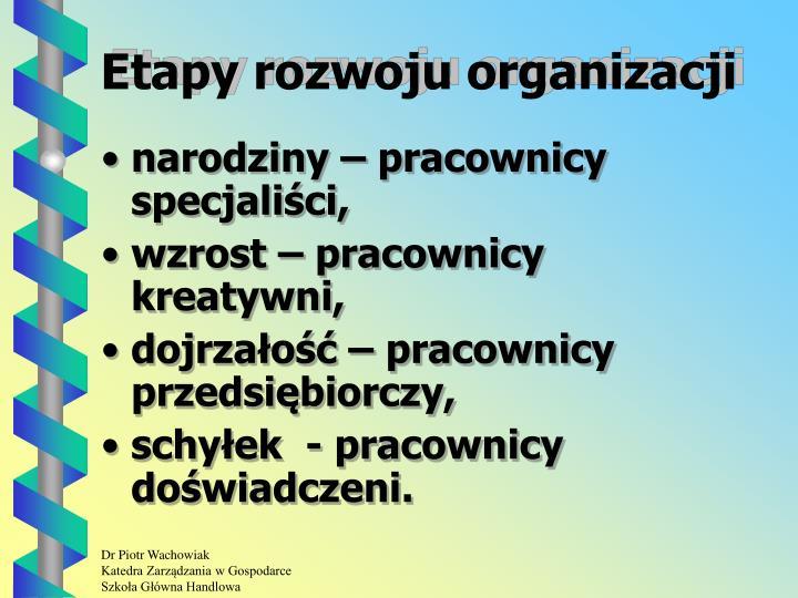 Etapy rozwoju organizacji