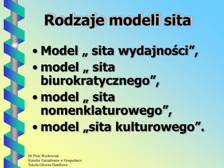 Rodzaje modeli sita