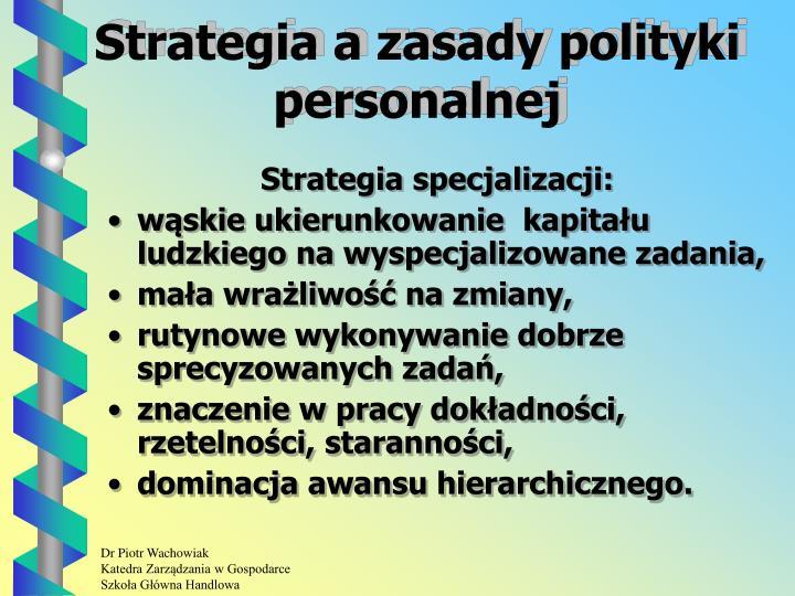 Strategia a zasady polityki personalnej