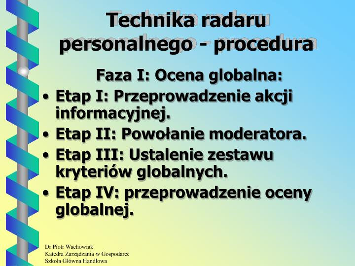 Technika radaru personalnego - procedura
