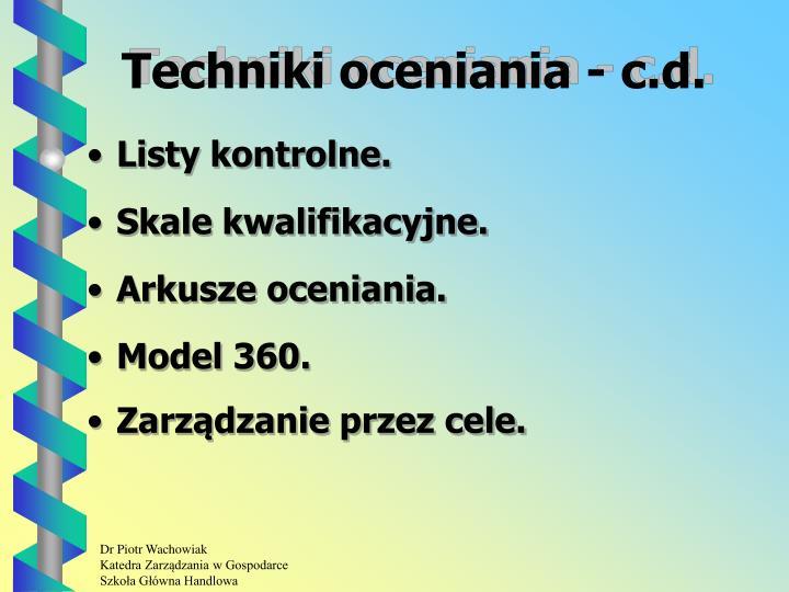 Techniki oceniania - c.d.