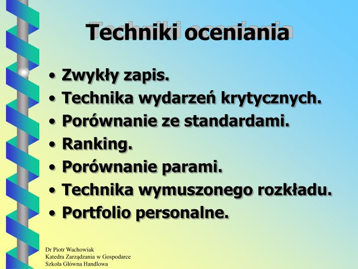 Techniki oceniania