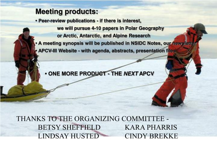 Meeting products: