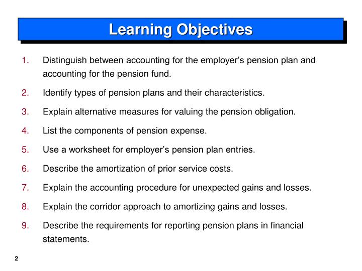 Distinguish between accounting for the employer's pension plan and accounting for the pension fund.