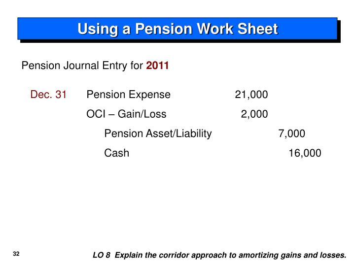 Using a Pension Work Sheet