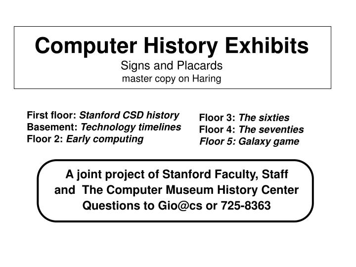 A joint project of Stanford Faculty, Staff
