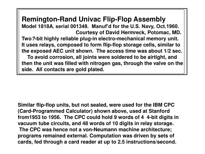Remington-Rand Univac Flip-Flop Assembly