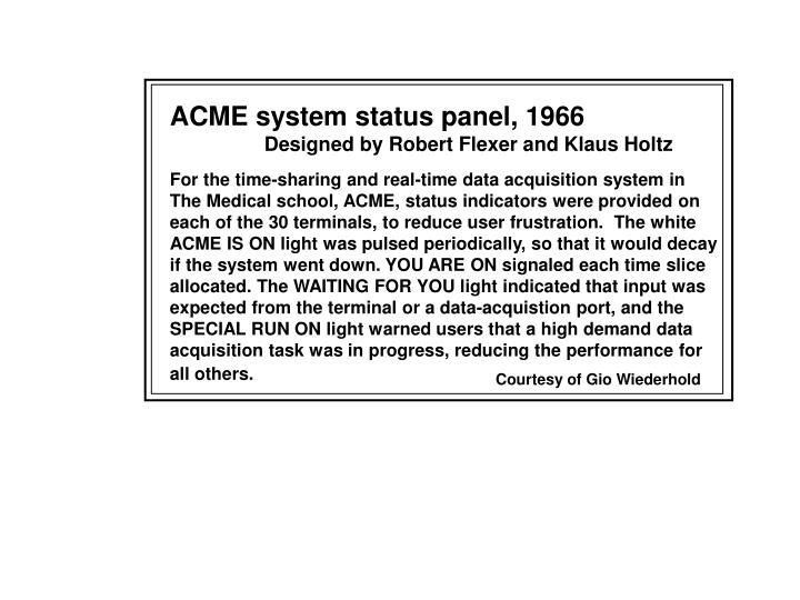 ACME system status panel, 1966